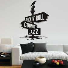 Rock N Roll Country Jazz Wall Decal Crow Guitar Music Fun Vinyl Wall Decals Vinyl Wall Art Sticker For Home Bedroom Decor X161 Wall Stickers Aliexpress
