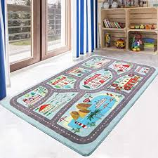 Amazon Com Livebox Play Mat Faux Wool Kids Road Traffic Area Rugs 3 X 5 Non Slip Childrens Crawling Carpet Colorful Educational Fun Throw Rug For Living Room Bedroom Playroom Nursery Decor Best