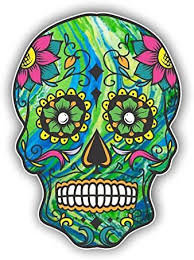 Amazon Com Vinyl Junkie Graphics Sugar Skull Sticker Dia De Los Muertos Decal Mexican Day Of The Dead Stickers For Notebook Car Truck Laptop Many Color Options Green Automotive