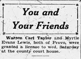 Warren Carl Taylor and Myrtle Evans Marriage License - Newspapers.com