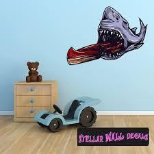 Shark Kayak Wall Decal Wall Fabric Repositionable Decal Vinyl Car Sticker Usc001
