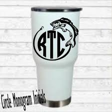 Fishing Monogram Vinyl Decal For Your Tumbler Cups Personalized Initials Men 2 25 Picclick