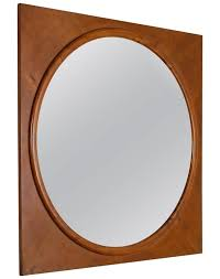 wall mirror in square walnut frame