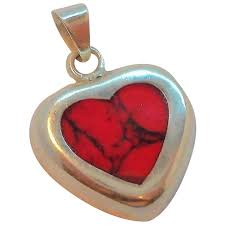 vintage sterling silver inlaid red