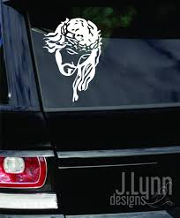 Jesus Car Decal Window Vinyl Sticker Jesus With Thorns Vehicle Etsy