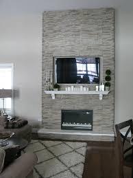diy fireplace stones over wood frame