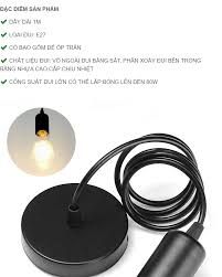 Bộ dây đèn Led thả trang trí màu đen E27 60W Ngân Tín (Tặng kèm bóng tròn  Led Edison 4W) Đèn Trang Trí Ngân Tin