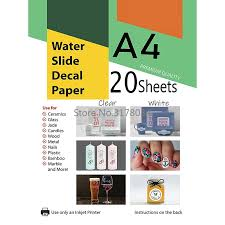 Waterslide Decal Paper 100 Sheets For Inkjet Printer A4