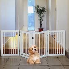 Tucker Murphy Pet Free Standing Wooden Pet Gate Indoor Dog Barrier Foldable Step Over Doorway Fence Safety Gate With Open Door Z Shape 4 Panel Wayfair Ca