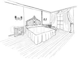 bed black and white bedroom cartoon