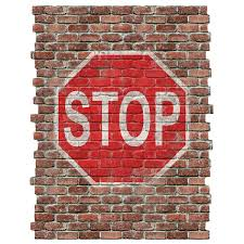 Stop Sign Ghost Sign Graphic Faux Brick Mural At Retro Planet