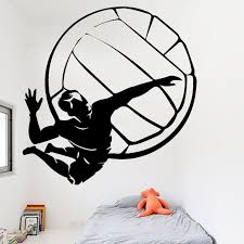 Hot Offer 6be5 Aiyoaiyo Volleyball Player Wall Sticker For Boys Bedroom Decoration Removeable Waterproof Vinyl Wall Decals Creative Pattern Cicig Co