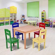 Goplus Kids 5 Piece Table Chair Set Pine Wood Multicolor Children Play Room Furniture Hw55008 Aliexpress