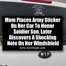 Mom Places Army Sticker On Her Car To Honor Soldier Son Later Discovers A Shocking Note On Her Windshield