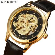 carved dragon automatic skeleton watch