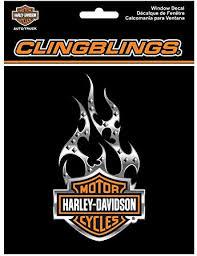 Amazon Com Harley Davidson Orange Bar Shield Flames Cling Bling Window Decal Cg1121 Harley Davidson Automotive
