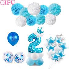 Qifu Baby Shower Decoracion Para Fiesta De Nino Azul 2