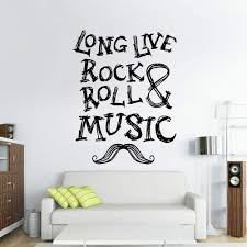 Amazon Com Stickersforlife Wall Decal Vinyl Sticker Quote Sign Words Rock N Roll Long Live Music Moustache Bedroom Design Mural Z2993 Home Kitchen