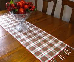 handwoven plaid table runner
