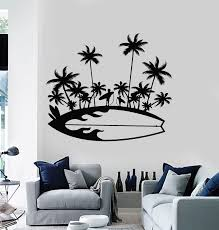 Vinyl Wall Decal Surfing Board Vacation Sun Beach Palm Island Stickers Wallstickers4you