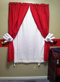 Mickey Mouse Curtains Simply Use Plain Red And White Curtains And Metal Curtain Pull Backs We A Mickey Mouse Curtains Mickey Mouse Bathroom Disney Kids Rooms