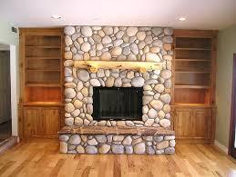 river rock fireplace knotty alder