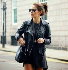 leather jacket black black dress