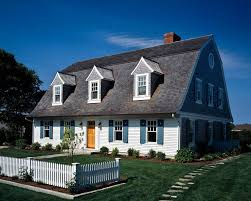 Teal Shutters Beach Style Exterior And Bluestone Cape Cod Chimney Curved Dormer Dormers Front Walk Gambrel Roof Guest House Shingles Shrubs Shutter Cut Outs Shutters Stepping Stone Path White Picket Fence Wood