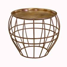 cage coffee table w copper finish large