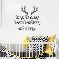 Hunting Wall Decal Quote I Count Antlers Not Sheep Nursery Vinyl Wall Stickers Children S Decoration Kids Room Wall Decor Wish