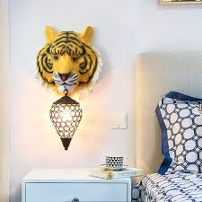 Yellow Gray Tiger Sconce Lighting 1 Light Country Style Clear Crystal Wall Lamp With Metal Cage For Children Room Susuohome Com