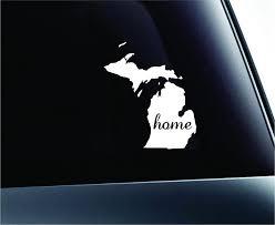 Amazon Com Expressdecor Home State Michigan Symbol Decal Family Love Car Truck Sticker Window White Automotive