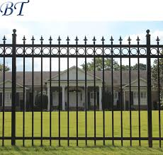 Ornamental Black Powder Coated Galvanized Steel Wrought Iron Garden Fence China Steel Fence Powder Coated Steel Fence Made In China Com