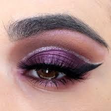 purple glitter cut crease makeup
