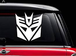 Amazon Com Decepticon Transformer White 8 Vinyl Decal Sticker For Car Automobile Window Wall Laptop Notebook Etc Any Smooth Surface Such As Windows Bumpers Kitchen Dining