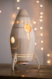 Rocket Night Light Wooden Bedside Lamp Space Themed Kid S Room And Nursery Decor Themed Kids Room Kids Lamps Boys Night Light