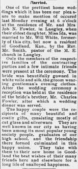 Article about wedding of Will White and Ida Fowler in 1905 - Newspapers.com
