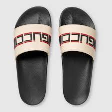 white rubber gucci stripe slide sandal