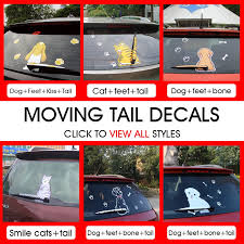 Car Styling Waterproof Car Sticker Cartoon Animal Dog Cat Funny Moving Tail Decal Rear Window Wiper Decals Stickers Accessories Car Stickers Aliexpress