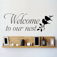 Art Wall Decal Welcome To Our Nest With Love Birds Vinyl Wall Sticker Decor Living Room Bedroom Decoration Accessories W223 Wall Stickers Aliexpress