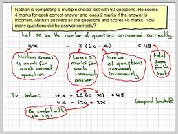 solving equations from word problems