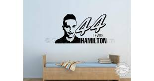 Lewis Hamilton 44 Wall Sticker F1 World Champion Vinyl Graphic Home Lounge Bedroom
