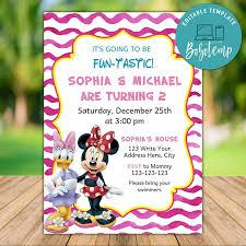 Invitaciones De Cumpleanos De Minnie Mouse Y Daisy Twin