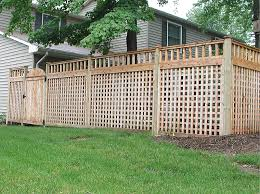 Wood Square Lattice Fence With Spindle Topper By Elyria Fence