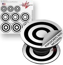 Decal Style Vinyl Skin Wrap 3 Pack For Popsockets Bullseye Black And White