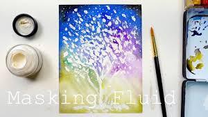 masking fluid galaxy tree painting
