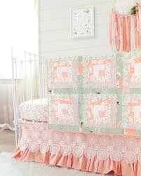 peach and sage baby quilt log cabin