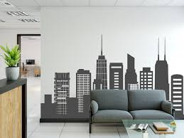 Chicago Skyline Wall Decal Chicago City Cityscape Silhouette Etsy Home Wall Decor Gym Room At Home Photo Walls Bedroom