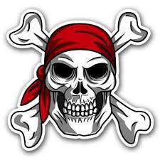 12 Pirate Bandana Jolly Roger Skull And Crossbones Sticker Car Window Decal Ebay