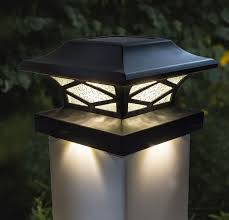 Black Solar Cap Lights Dual Lighting Fits 4 Post Sizes Set Of 2